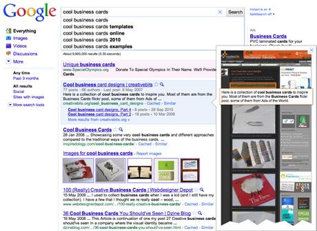 google instant preview screenshoot