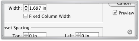 InDesign Text Frame Options preview