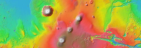 Elevation of the surface of mars from Google Mars website