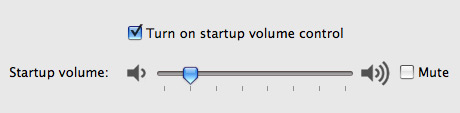 Control the volume of the startup sound control panel